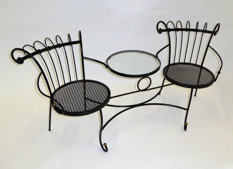 Exceptional 1950s Wrought Iron Tete a Tete or Settee in the Style of Tempestini In Good Condition For Sale In Miami, FL