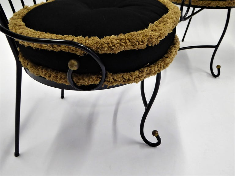 Mid-20th Century Exceptional 1950s Wrought Iron Tete a Tete or Settee in the Style of Tempestini For Sale