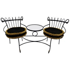 Exceptional 1950s Wrought Iron Tete a Tete or Settee in the Style of Tempestini