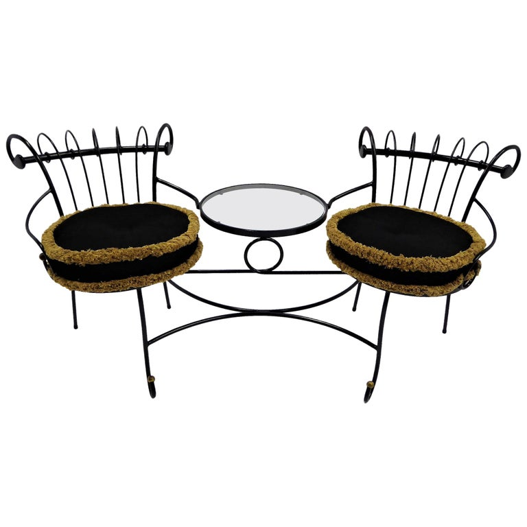 Exceptional 1950s Wrought Iron Tete a Tete or Settee in the Style of Tempestini For Sale