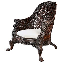 Exceptional 19th Century Anglo-Indian Carved Teak Armchair