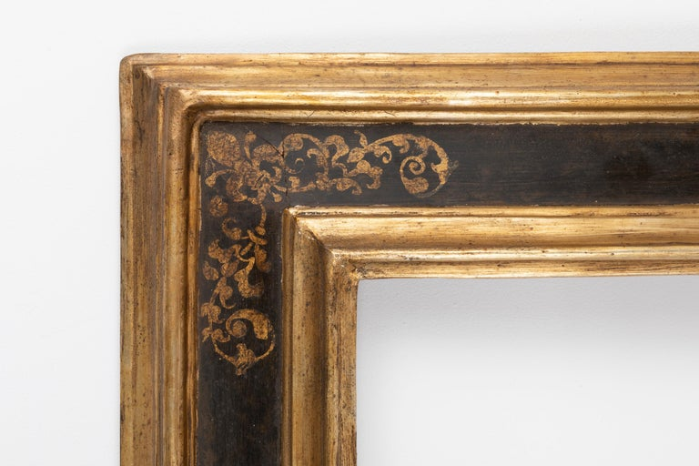 Renaissance Exceptional 19th Century Carved Painted Giltwood Italian Frame or Mirror, Italy For Sale