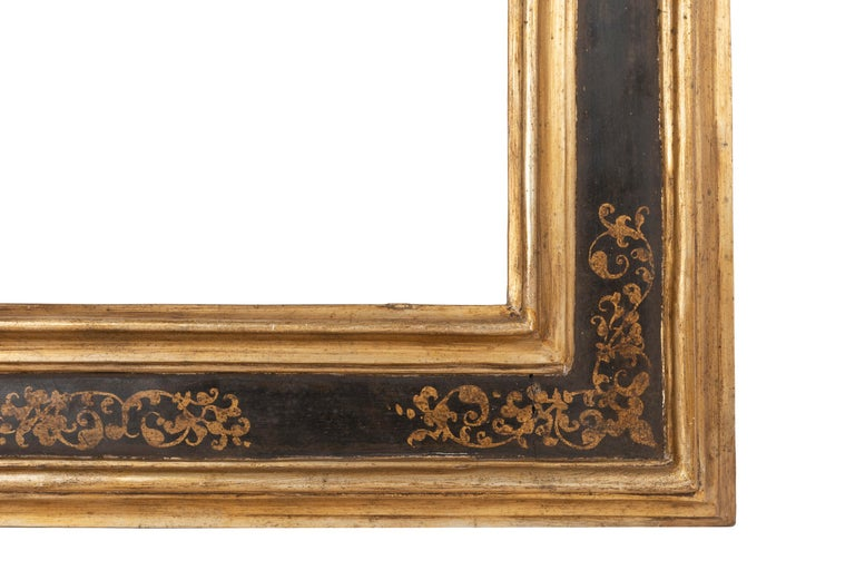 Exceptional 19th Century Carved Painted Giltwood Italian Frame or Mirror, Italy In Good Condition For Sale In Saint-Ouen, FR