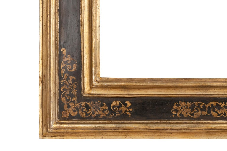 Exceptional 19th Century Carved Painted Giltwood Italian Frame or Mirror, Italy For Sale 1
