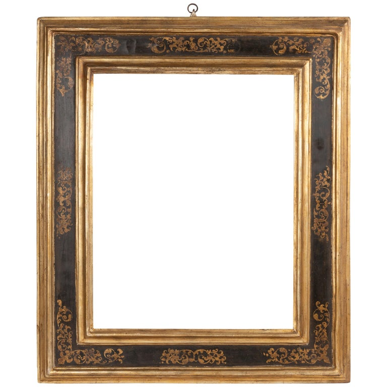 Exceptional 19th Century Carved Painted Giltwood Italian Frame or Mirror, Italy For Sale