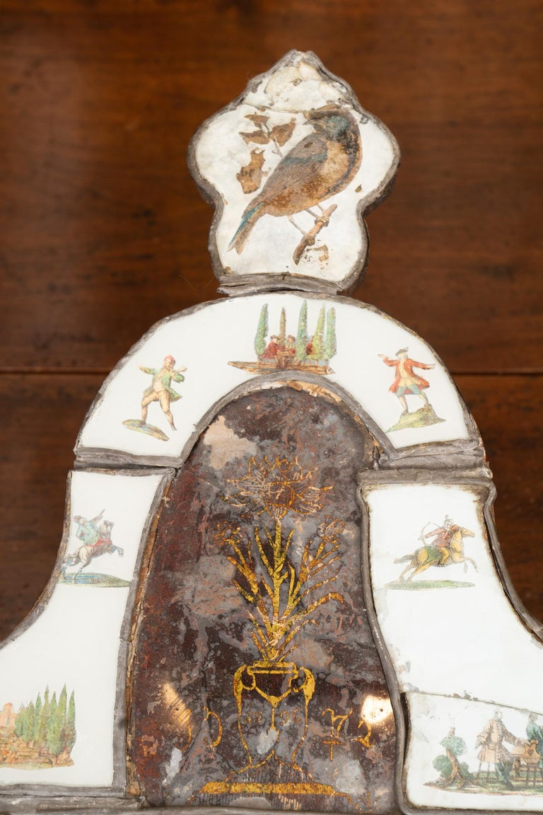 Painted Exceptional 19th Century Eglomise Venetian Mirror For Sale