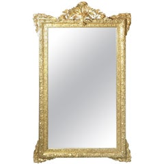 Exceptional 19th Century Gold Giltwood and Gesso Beveled Mirror