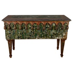 Exceptional 19th Century Italian Polychrome Original Painted Console Side Table