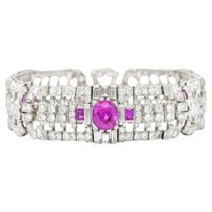 Exceptional 25.95 Carats Diamond No Heat Burma Sapphire Platinum Linked Bracelet
