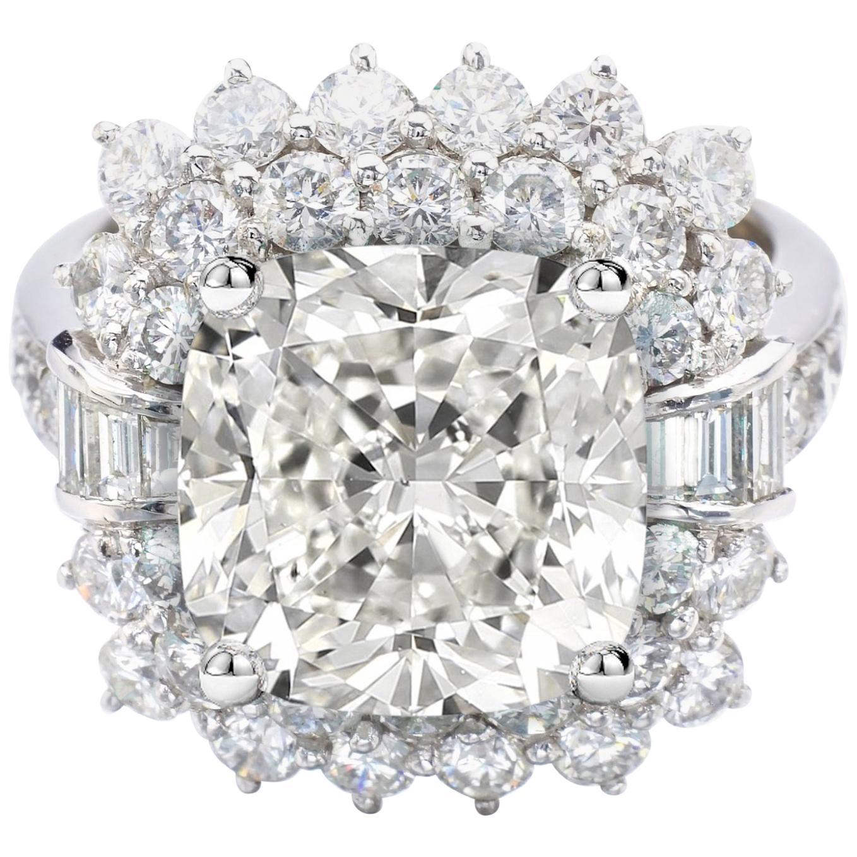 GIA Certified 4.50 Carat Cushion Diamond Cocktail Ring