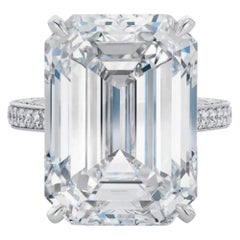 EXCEPTIONAL HRD Certified 6.35 Carat Emerald Cut Diamond Ring Platinum