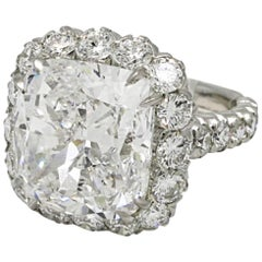 6.10 Carat Cushion Cut Diamond Ring VS1 Clarity I Color Triple EX