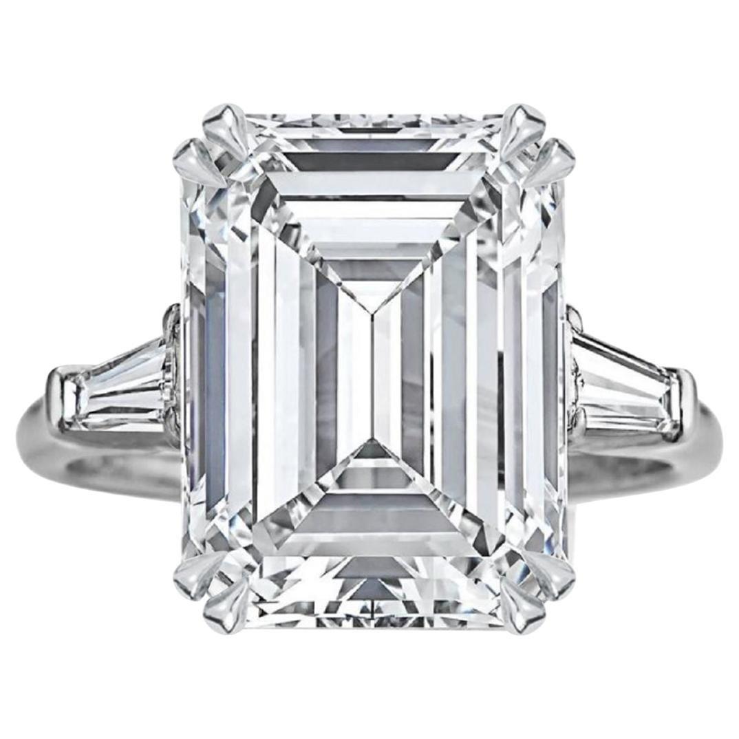IMPORTANT 5.65 Carat GIA Certified Emerald Cut Diamond Ring