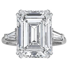 IMPORTANT 6.20 Carat GIA Certified Emerald Cut Diamond Ring
