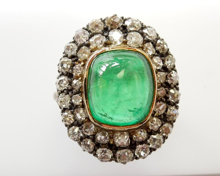 Exceptional 7.12 Carat Cabochon Emerald and Diamond Ring For Sale 1