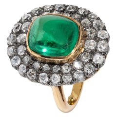 Exceptional 7.12 Carat Cabochon Emerald and Diamond Ring