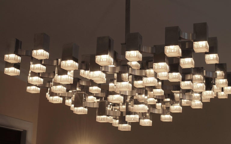 Exceptional 81 Cubes Sciolari Chrome Chandelier, 1970s, Italy For Sale 3
