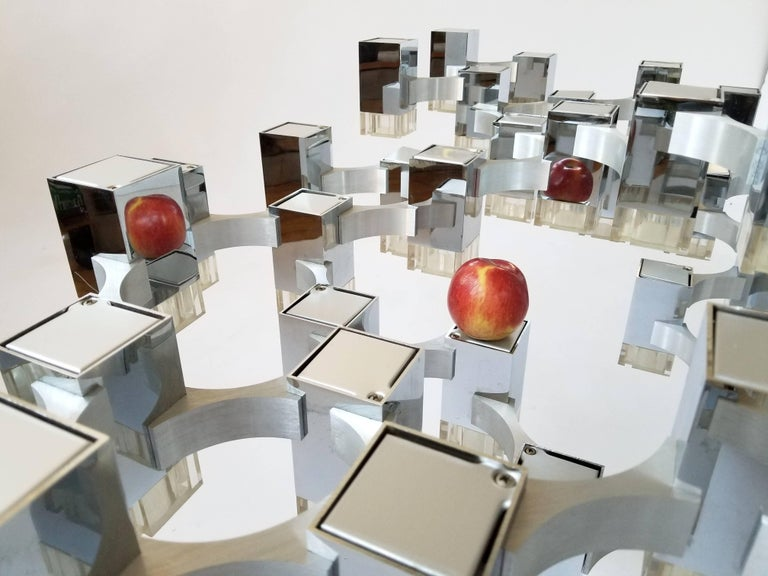 Exceptional 81 Cubes Sciolari Chrome Chandelier, 1970s, Italy For Sale 6