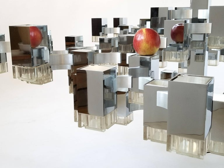 Exceptional 81 Cubes Sciolari Chrome Chandelier, 1970s, Italy For Sale 7