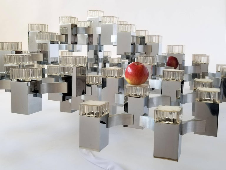 Exceptional 81 Cubes Sciolari Chrome Chandelier, 1970s, Italy For Sale 9