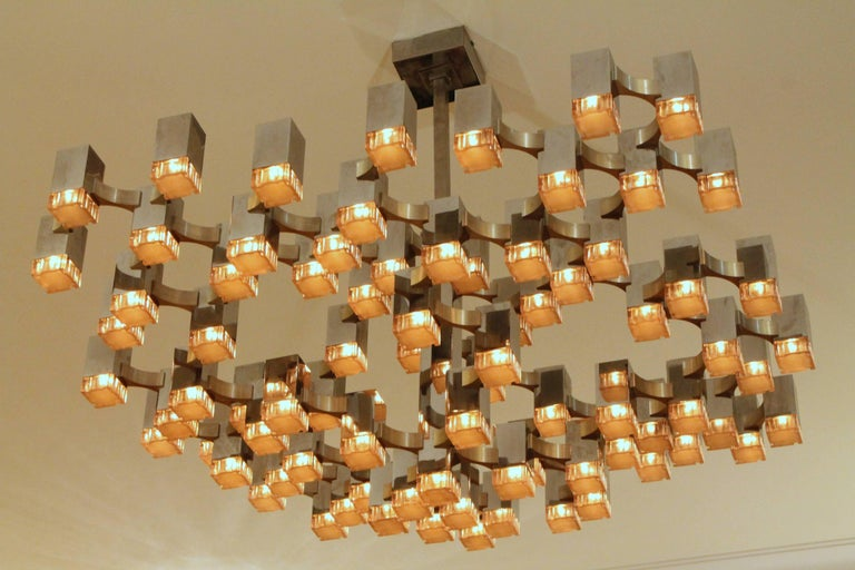 Mid-Century Modern Exceptional 81 Cubes Sciolari Chrome Chandelier, 1970s, Italy For Sale