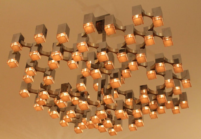 Italian Exceptional 81 Cubes Sciolari Chrome Chandelier, 1970s, Italy For Sale