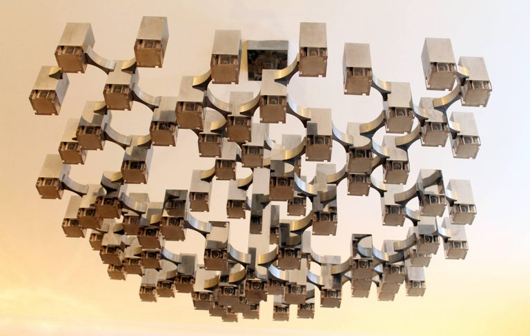 Late 20th Century Exceptional 81 Cubes Sciolari Chrome Chandelier, 1970s, Italy For Sale