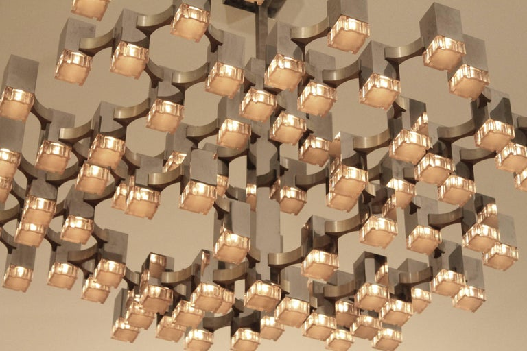Exceptional 81 Cubes Sciolari Chrome Chandelier, 1970s, Italy For Sale 1