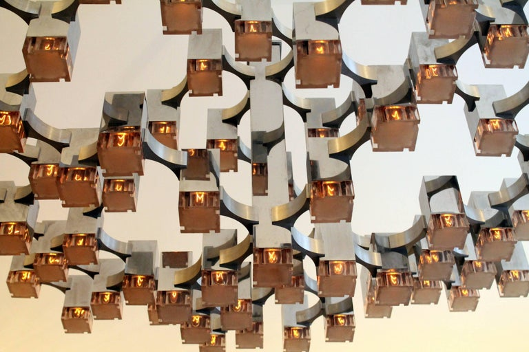Exceptional 81 Cubes Sciolari Chrome Chandelier, 1970s, Italy For Sale 2
