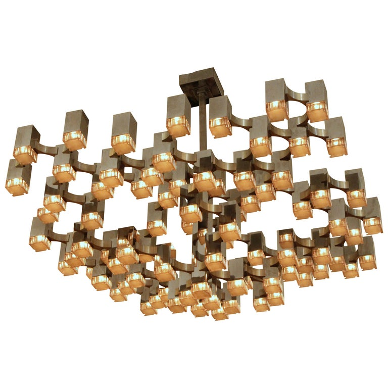 Exceptional 81 Cubes Sciolari Chrome Chandelier, 1970s, Italy For Sale