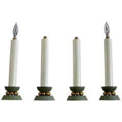 Exceptional and Decorative Set of Four Art Deco Candlestick Lamps, 1930s