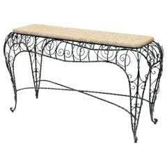 Exceptional and Intricate Forged Iron Console with Faux Stone Top