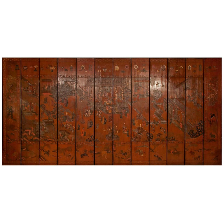Exceptional and Rare 17th-18th Century Twelve-Panel Chinese Coromandel Screen For Sale
