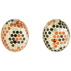 Exceptional Angela Cummings Coral Black Jade and Mother of Pearl Earrings