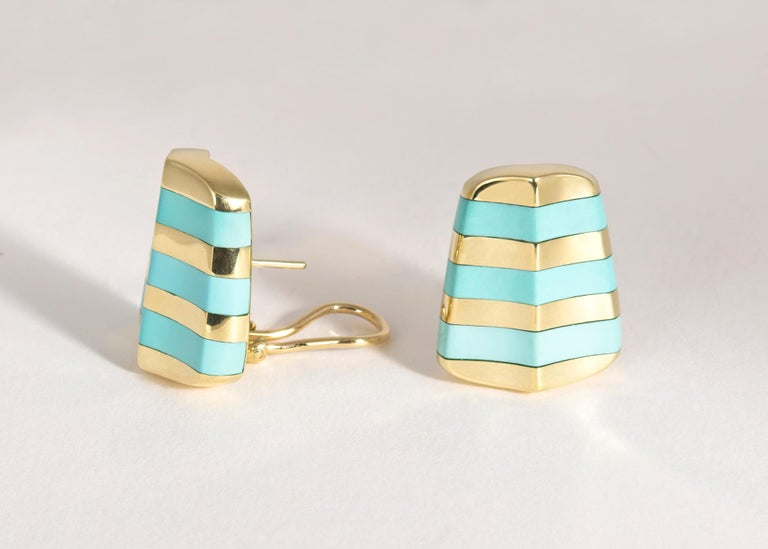 Contemporary  Angela Cummings Turquoise and Gold Earrings For Sale