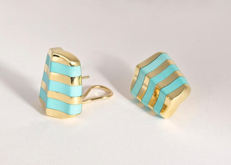 Angela Cummings Turquoise and Gold Earrings In Excellent Condition For Sale In Atlanta, GA