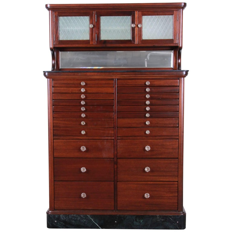 Exceptional Antique 22 Drawer Mahogany Dental Cabinet