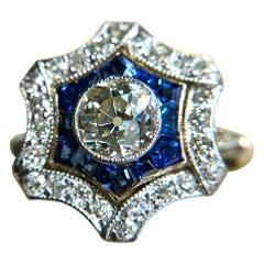 Art Deco Platinum Diamond and Sapphire Cluster Ring