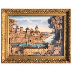 Exceptional Antique Cork Work Diorama of Gripsholm Castle