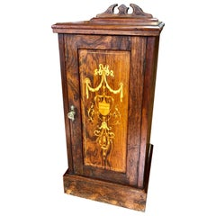 Exceptional Antique English Marquetry Inlaid Rosewood Bedside/Chairside Cupboard