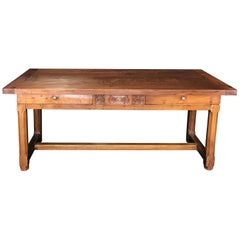 Exceptional Antique French Cherry Farm Dining Table