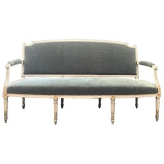 Exceptional Antique French Louis XVI Sofa Settee with Original Mohair