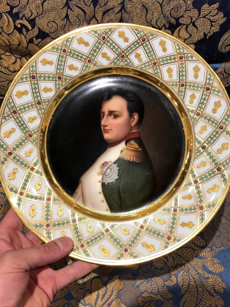 Exceptional Antique hand painted Vienna porcelain plate with raised gold border of Napoleon