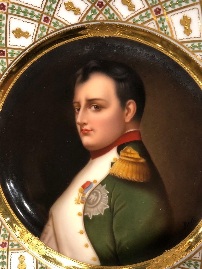 Austrian Exceptional Antique Hand Painted Royal Vienna Porcelain Plate of Napoleon For Sale