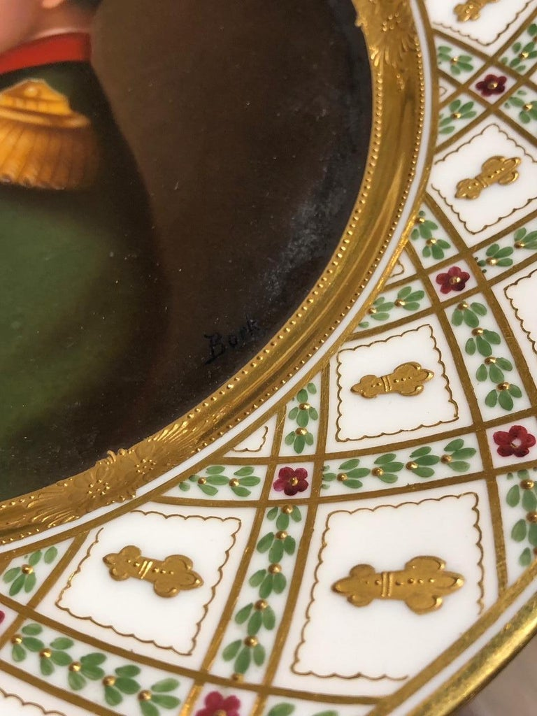 19th Century Exceptional Antique Hand Painted Royal Vienna Porcelain Plate of Napoleon For Sale