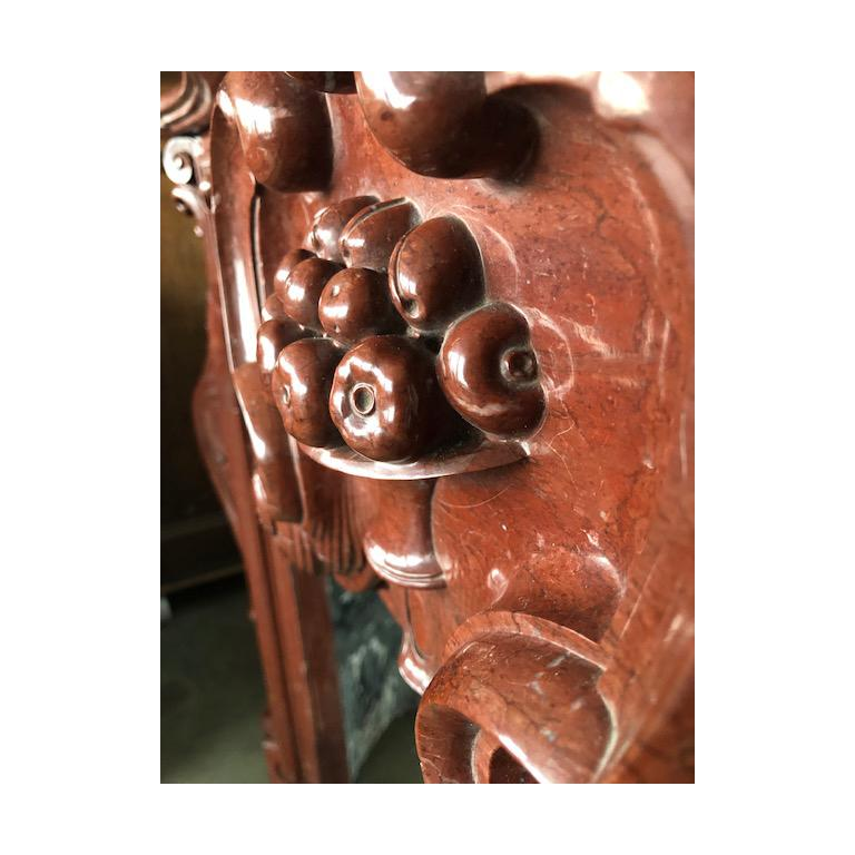 European LOUIS XV Antique Fireplace in Red Marble 18th Century For Sale