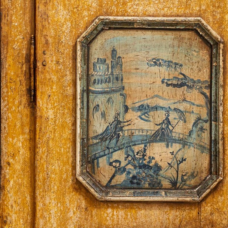 Exceptional Antique Original Painted Armoire with Blue Figures, Germany Dated 17 For Sale 5