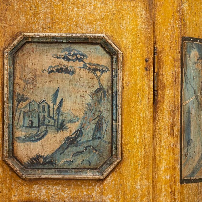 Exceptional Antique Original Painted Armoire with Blue Figures, Germany Dated 17 For Sale 6