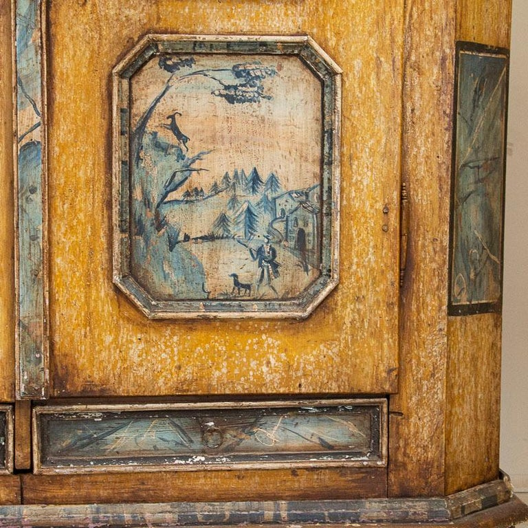Exceptional Antique Original Painted Armoire with Blue Figures, Germany Dated 17 For Sale 7
