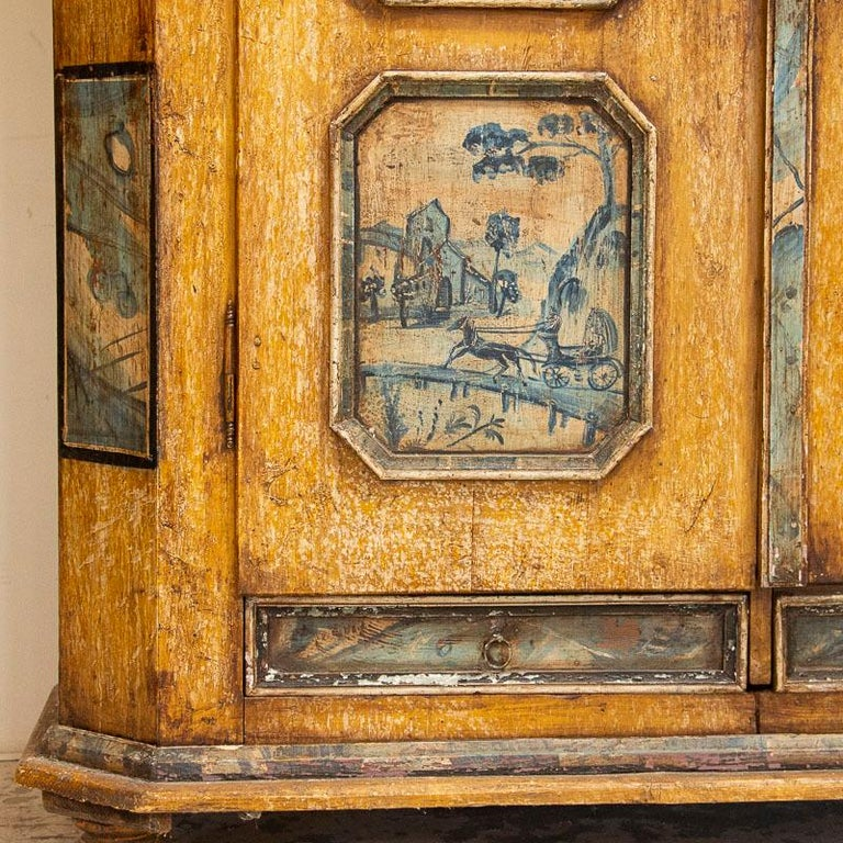 Exceptional Antique Original Painted Armoire with Blue Figures, Germany Dated 17 For Sale 8
